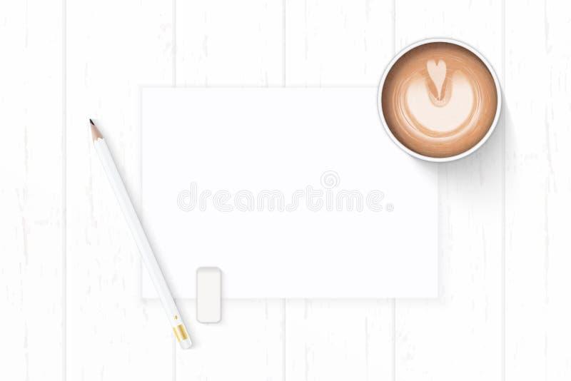 Επίπεδος βάλτε την κομψούς άσπρους γόμα και τον καφέ μολυβιών εγγράφου σύνθεσης τοπ άποψης στο ξύλινο υπόβαθρο στοκ φωτογραφίες με δικαίωμα ελεύθερης χρήσης