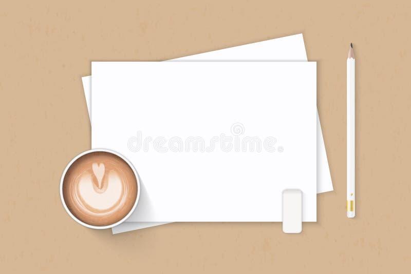 Επίπεδος βάλτε την κομψούς άσπρους γόμα και τον καφέ μολυβιών εγγράφου σύνθεσης τοπ άποψης στο υπόβαθρο του Κραφτ στοκ εικόνα