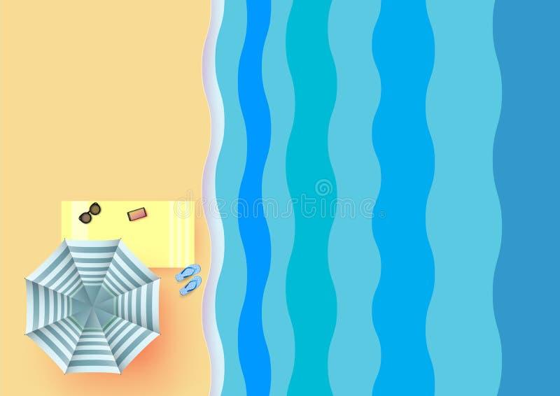 Επίπεδος βάλτε τη θερινή έννοια της ζωηρόχρωμης ομπρέλας στην παραλία ελεύθερη απεικόνιση δικαιώματος