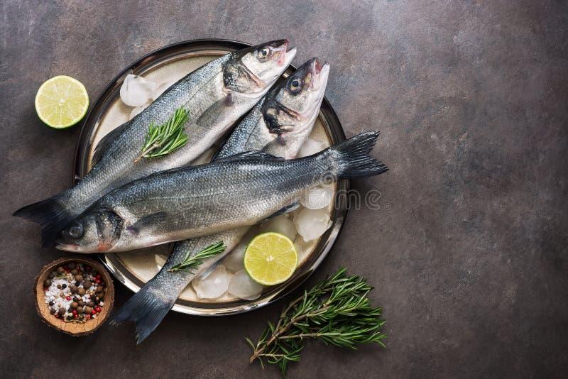 Επίπεδος βάλτε τις φρέσκες πέρκες θάλασσας ψαριών σε ένα πιάτο με τους κύβους, το δεντρολίβανο και τον ασβέστη πάγου σε ένα σκοτε στοκ εικόνες