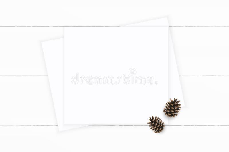 Επίπεδος βάλτε τοπ άποψης τον κομψό άσπρο σύνθεσης κώνο πεύκων εγγράφου καφετή στο ξύλινο υπόβαθρο Σχέδιο διακοσμήσεων Χριστουγέν στοκ φωτογραφία