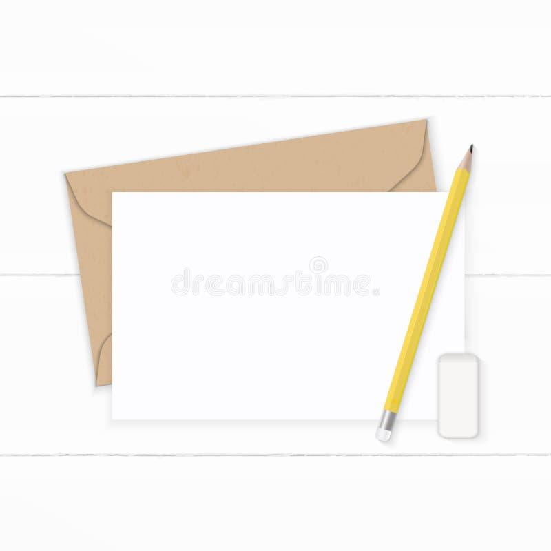 Επίπεδος βάλτε το κομψές άσπρες μολύβι και τη γόμα φακέλων εγγράφου του Κραφτ επιστολών σύνθεσης τοπ άποψης κίτρινες στο ξύλινο υ διανυσματική απεικόνιση