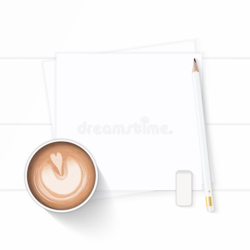 Επίπεδος βάλτε το κομψές άσπρες ποτό καφέ εγγράφου σύνθεσης τοπ άποψης και τη γόμα μολυβιών στο ξύλινο υπόβαθρο στοκ φωτογραφία με δικαίωμα ελεύθερης χρήσης