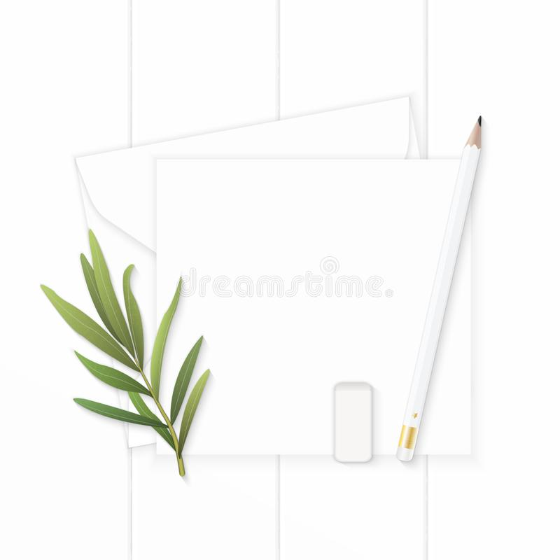 Επίπεδος βάλτε το κομψές άσπρες φύλλο και τη γόμα τραχουριού μολυβιών φακέλων εγγράφου επιστολών σύνθεσης τοπ άποψης στο ξύλινο υ στοκ εικόνες με δικαίωμα ελεύθερης χρήσης