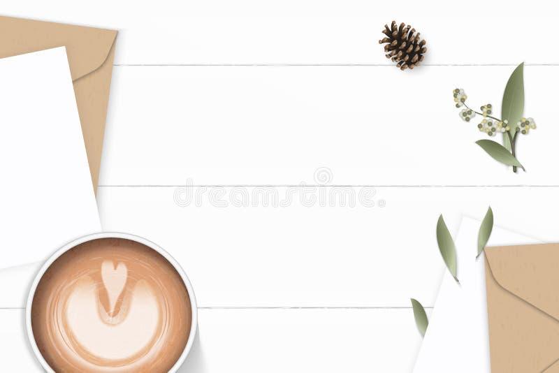 Επίπεδος βάλτε το κομψούς άσπρους λουλούδι και τον καφέ φύλλων κώνων πεύκων φακέλων εγγράφου του Κραφτ επιστολών σύνθεσης τοπ άπο απεικόνιση αποθεμάτων