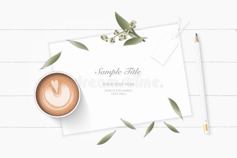 Επίπεδος βάλτε το κομψούς άσπρους μολύβι και τον καφέ ετικεττών κώνων πεύκων λουλουδιών φύλλων φυτών βοτανικών κήπων εγγράφου σύν διανυσματική απεικόνιση