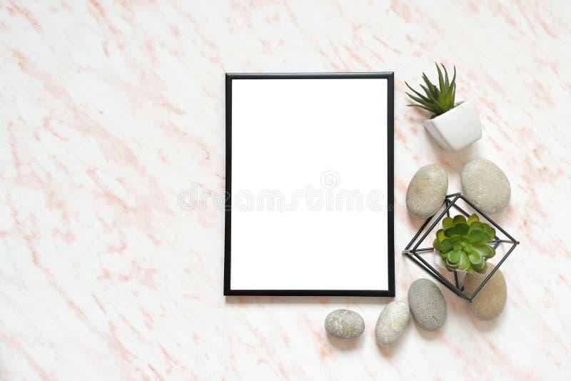 Επίπεδος βάλτε το μαρμάρινο γραφείο με το άσπρο κενό πλαίσιο για το κείμενο, τις πέτρες και succulents το υπόβαθρο στοκ εικόνα με δικαίωμα ελεύθερης χρήσης