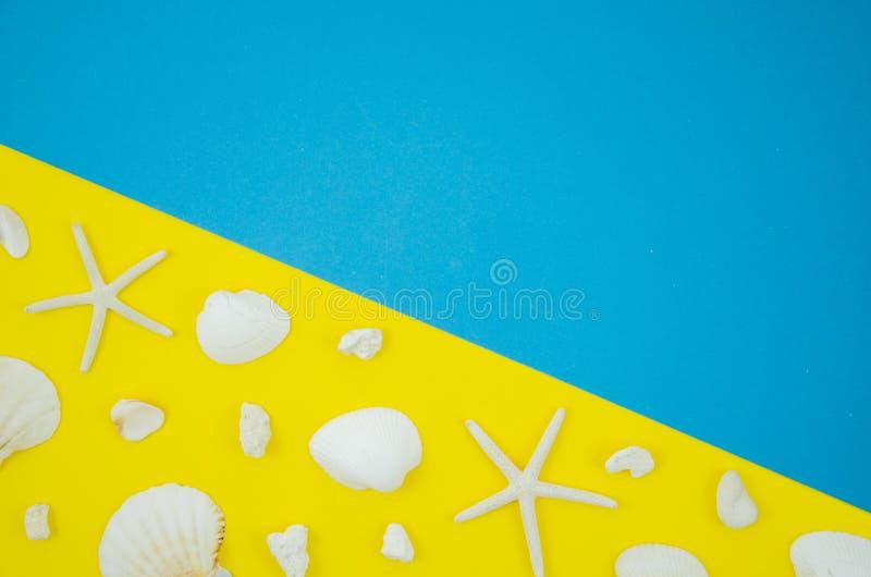 Επίπεδος βάλτε το πλαίσιο των κοχυλιών και των αστεριών σε ένα κίτρινο και μπλε υπόβαθρο Έννοια διακοπών θερινών παραλιών με το δ στοκ εικόνες