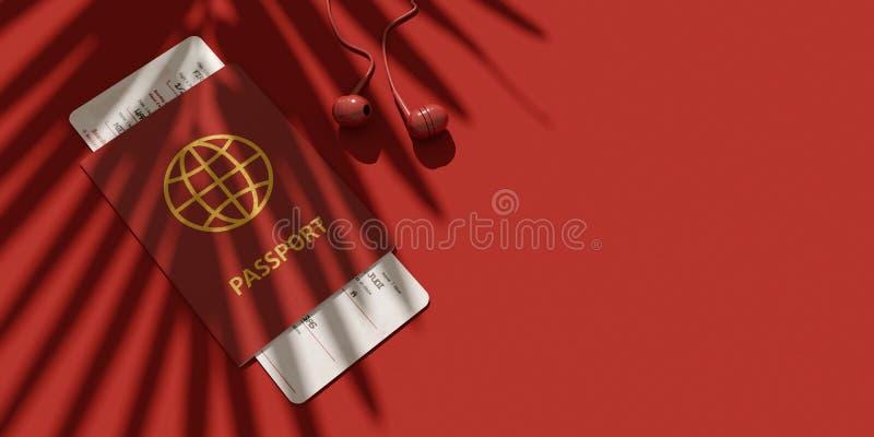 Επίπεδος βάλτε των ταξιδιωτικών ` s εξαρτημάτων, ουσιαστικά στοιχεία διακοπών, ακουστικά, διαβατήριο, εισιτήριο Σκιά του φοίνικα  στοκ φωτογραφία με δικαίωμα ελεύθερης χρήσης