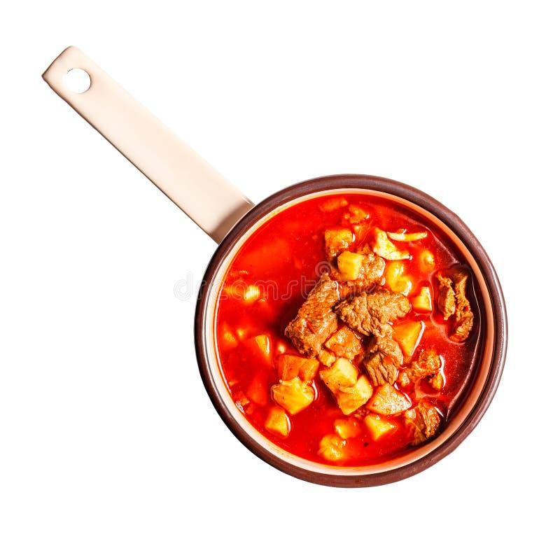 Επίπεδος βάλτε goulash της σούπας στοκ εικόνα