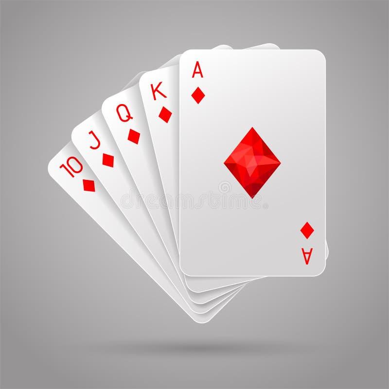 επίπεδος βασιλικός διαμαντιών Χέρι πόκερ απεικόνιση αποθεμάτων