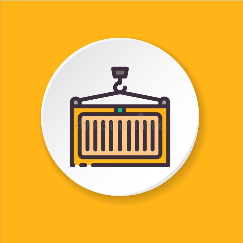 Επίπεδος γερανός φορτίου εικονιδίων Εμπορευματοκιβώτιο έννοιας ελεύθερη απεικόνιση δικαιώματος