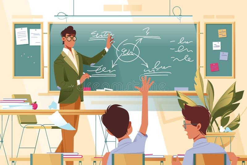 Επίπεδος δάσκαλος νεαρών άνδρων με τα γυαλιά στην εργασία με τους μαθητές στο σχολικό μάθημα ελεύθερη απεικόνιση δικαιώματος