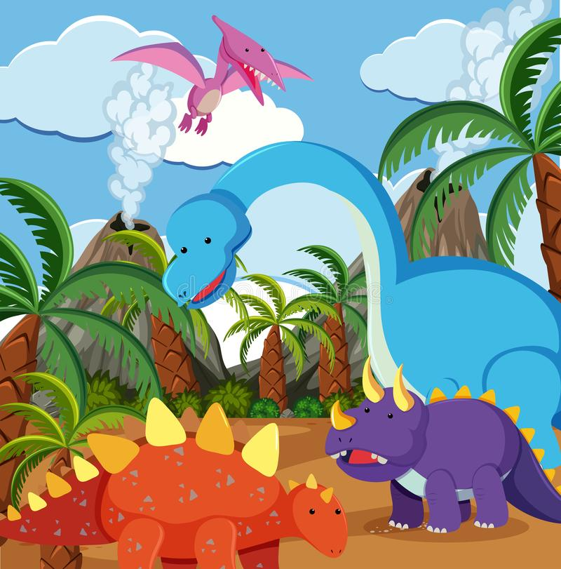 Επίπεδος δεινόσαυρος στη φύση ελεύθερη απεικόνιση δικαιώματος