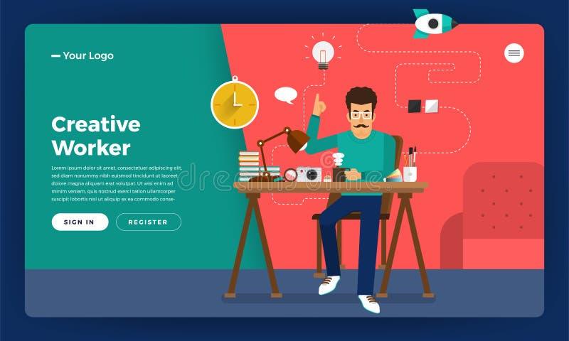 Επίπεδος δημιουργικός εργαζόμενος έννοιας σχεδίου Το διάνυσμα επεξηγεί απεικόνιση αποθεμάτων