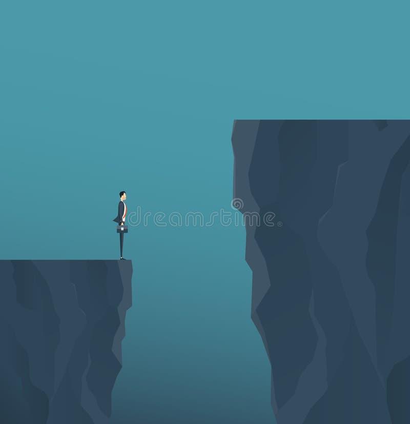 Επίπεδος διανυσματικός επιχειρηματίας έννοιας που στέκεται στο βουνό clif διανυσματική απεικόνιση