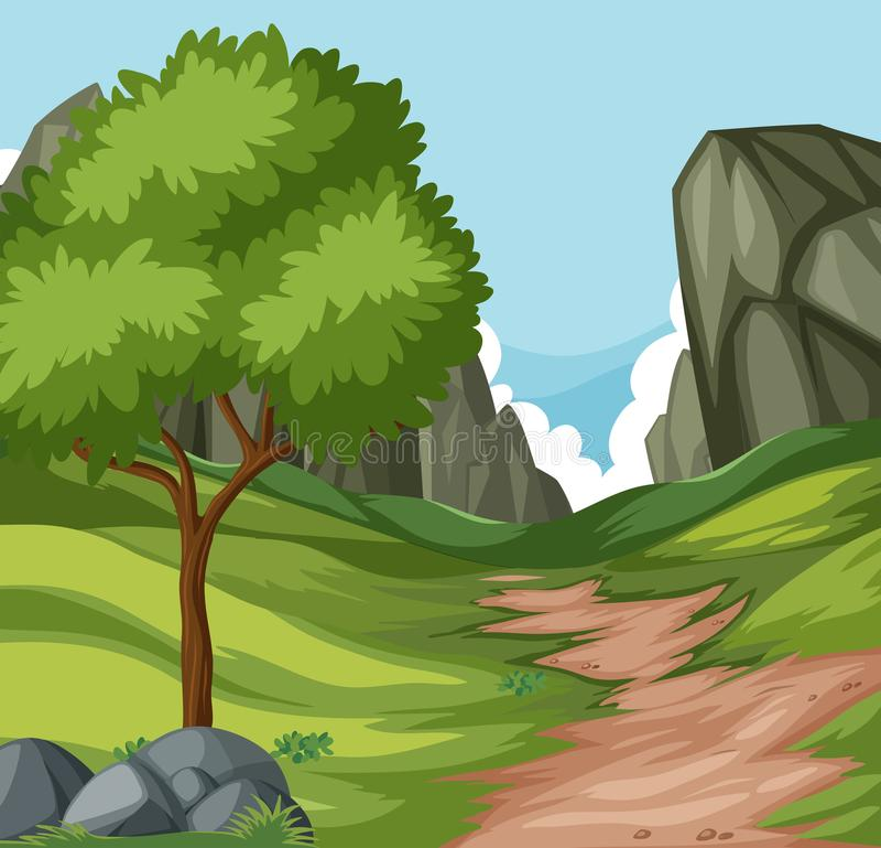 Επίπεδος δρόμος φύσης στο λόφο ελεύθερη απεικόνιση δικαιώματος