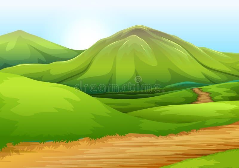 Επίπεδος δρόμος φύσης στο λόφο διανυσματική απεικόνιση