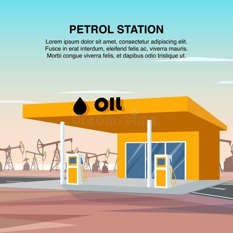 Επίπεδος εμβλημάτων σταθμός αυτοκινήτων βενζίνης απεικόνισης κίτρινος απεικόνιση αποθεμάτων