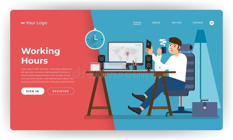 Επίπεδος εργαζόμενος ωρών απασχόλησης έννοιας σχεδίου ιστοχώρου σχεδίου προτύπων διανυσματική απεικόνιση