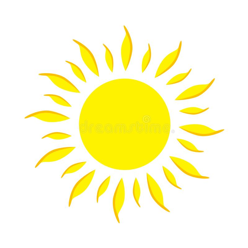Επίπεδος κίτρινος ήλιος εικονιδίων διανυσματική απεικόνιση