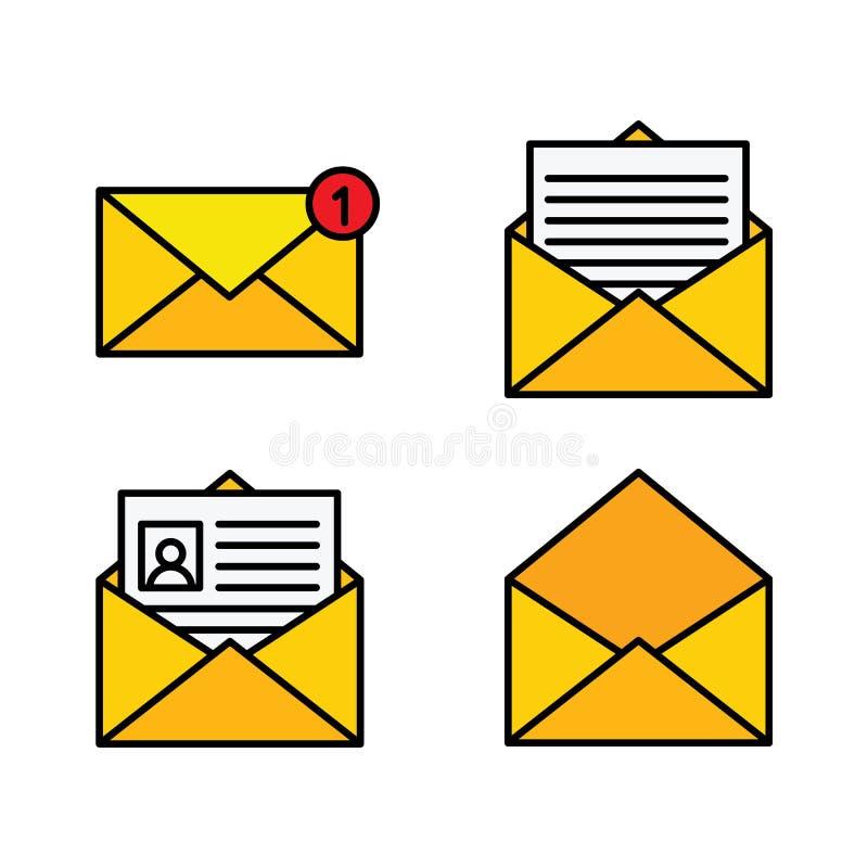 Επίπεδος κίτρινος φάκελος Εικονίδιο ταχυδρομείου που τίθεται στο επίπεδο ύφος - διάνυσμα αποθεμάτων απεικόνιση αποθεμάτων