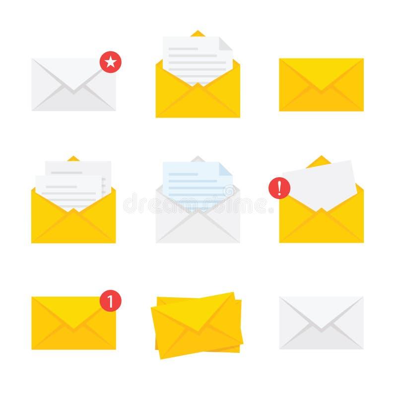Επίπεδος κίτρινος φάκελος Εικονίδιο ταχυδρομείου που τίθεται στο επίπεδο ύφος - διάνυσμα αποθεμάτων ελεύθερη απεικόνιση δικαιώματος