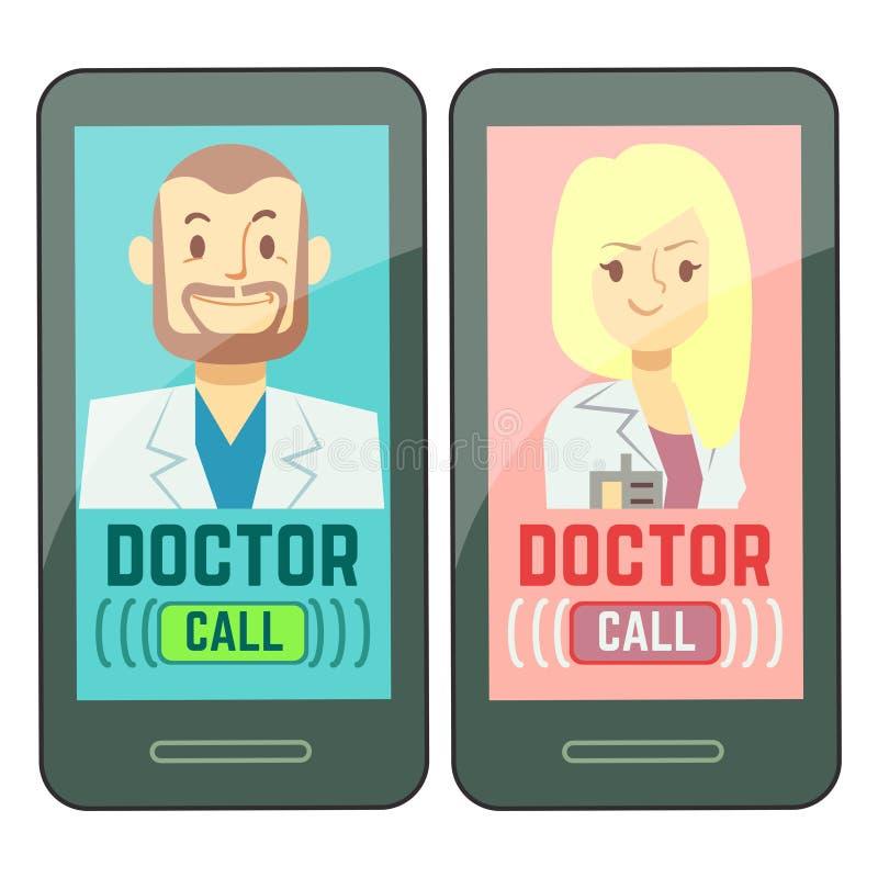 Επίπεδος κινητός γιατρός, εξατομικευμένος αρσενικός και θηλυκός σύμβουλος ιατρικής στο smartphone ελεύθερη απεικόνιση δικαιώματος
