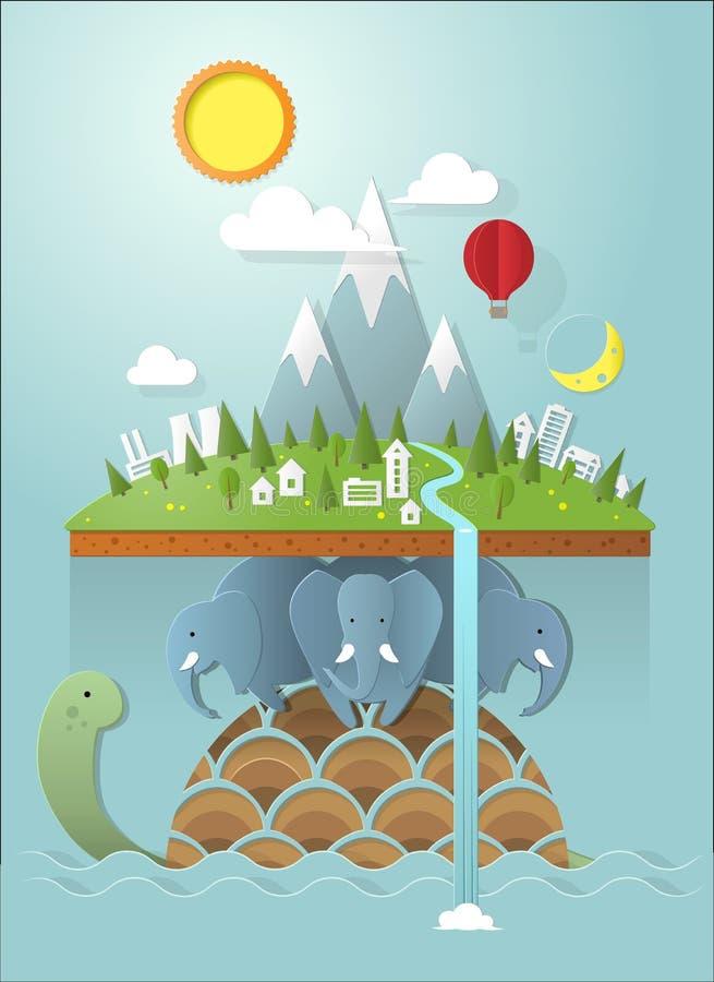 Επίπεδος κόσμος που στηρίζεται στους ελέφαντες διανυσματική απεικόνιση