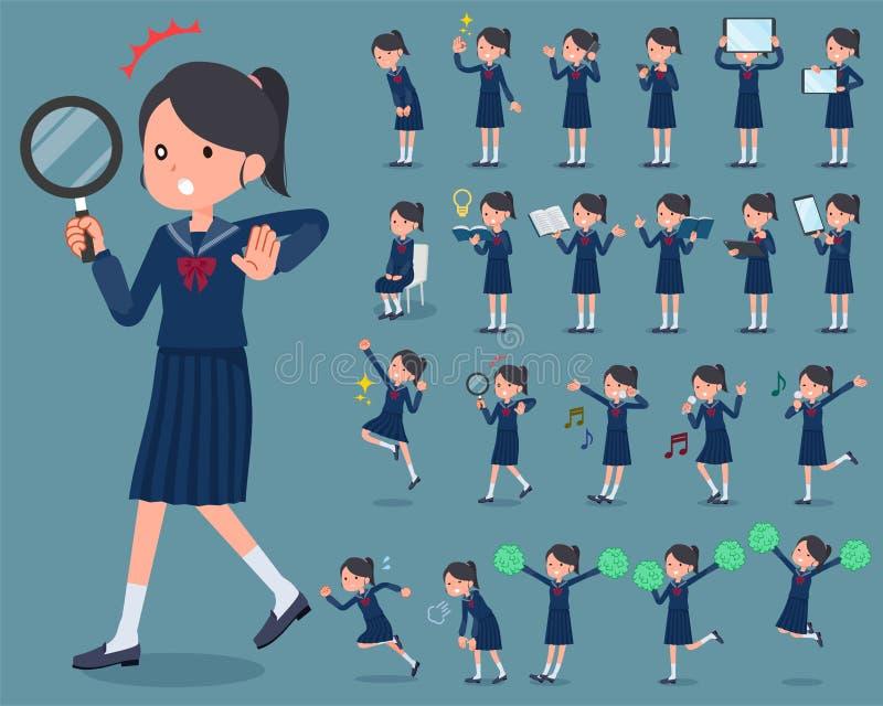 Επίπεδος ναυτικός suit_2 σχολικών κοριτσιών τύπων απεικόνιση αποθεμάτων
