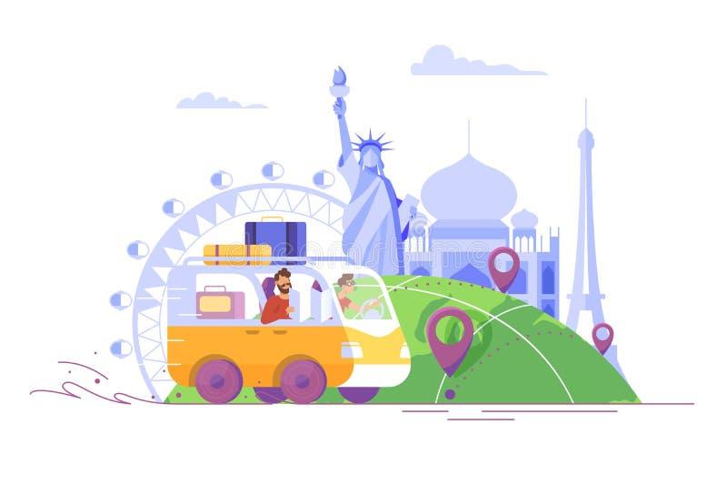 Επίπεδος νεαρός άνδρας με τη γενειάδα, τσάντες που ταξιδεύει με το αυτοκίνητο στο Παρίσι, Ινδία, Αμερική διανυσματική απεικόνιση