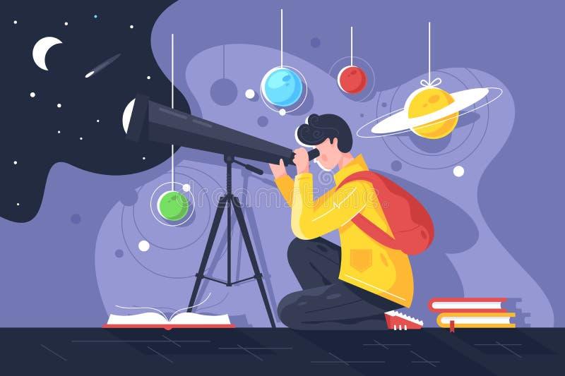 Επίπεδος νεαρός άνδρας με το βιβλίο και τηλεσκόπιο που μελετά το ηλιακό σύστημα με τον πλανήτη ελεύθερη απεικόνιση δικαιώματος