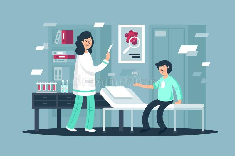 Επίπεδος νεαρός άνδρας στον εμβολιασμό με τη νοσοκόμα γυναικών με τη σύριγγα ελεύθερη απεικόνιση δικαιώματος
