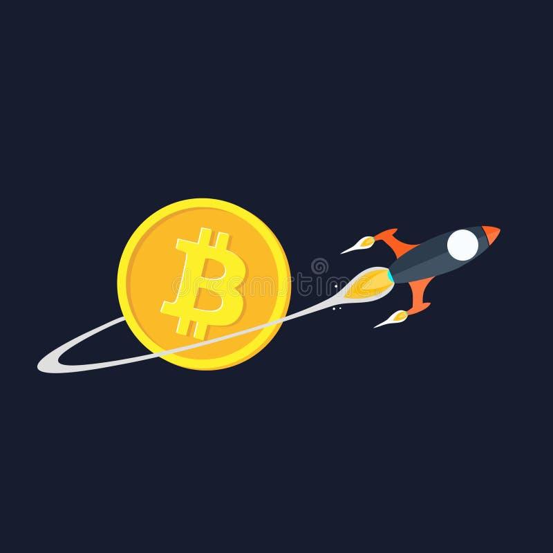 Επίπεδος πύραυλος με το ίχνος στο μπλε υπόβαθρο πέρα από το bitcoin διανυσματική απεικόνιση