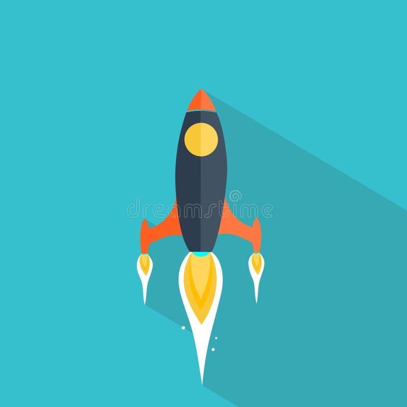 Επίπεδος πύραυλος στο μπλε υπόβαθρο απεικόνιση αποθεμάτων