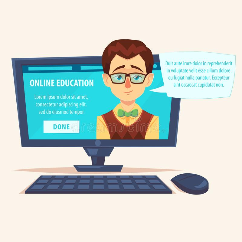 Επίπεδος σπουδαστής δασκάλων κινούμενων σχεδίων χαριτωμένος αστείος geek στην οθόνη lap-top με τη διανυσματική απεικόνιση φυσαλίδ απεικόνιση αποθεμάτων