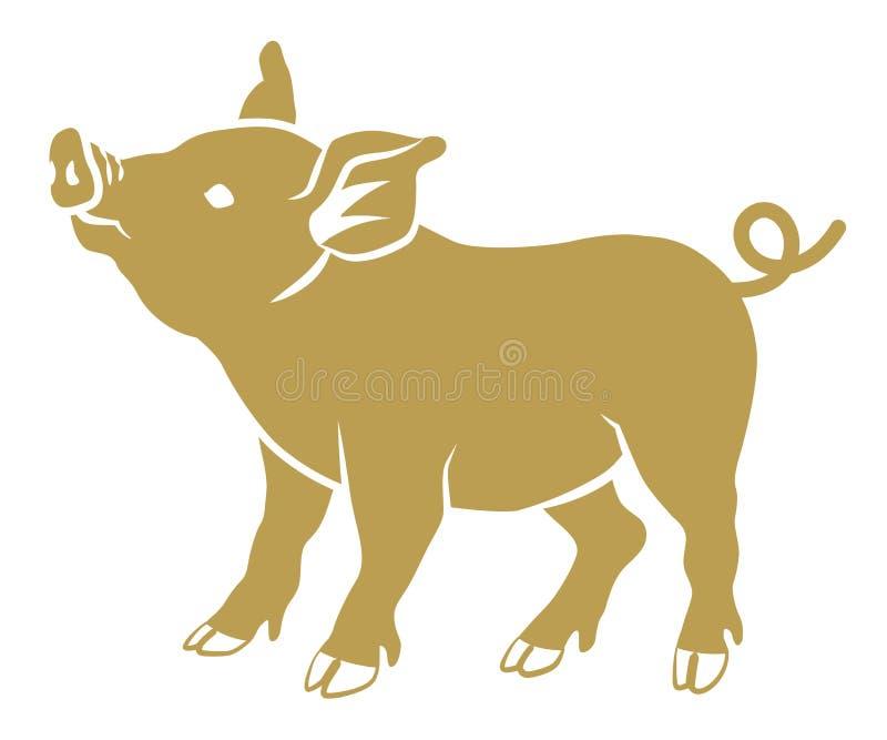 Επίπεδος συμβολικός χοίρος - χρυσό χρώμα, πλάγια όψη ελεύθερη απεικόνιση δικαιώματος