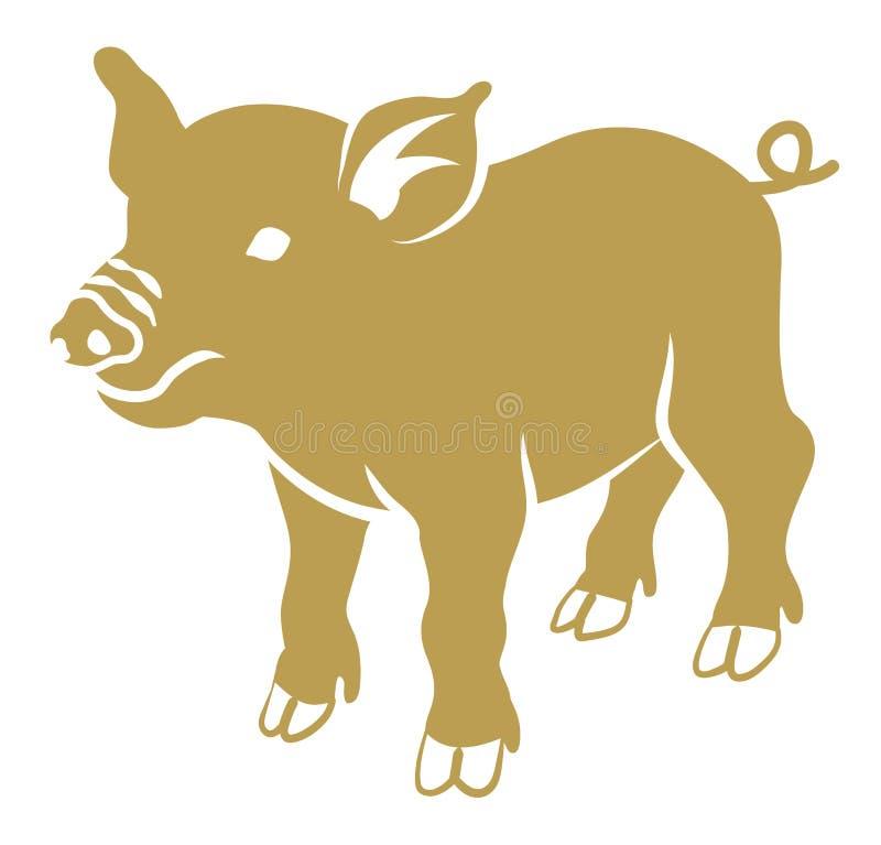Επίπεδος συμβολικός χοίρος - χρυσό χρώμα διανυσματική απεικόνιση