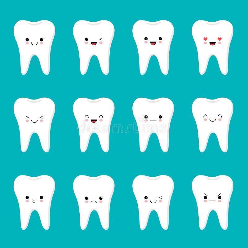 Επίπεδος σχεδίου χαρακτήρας δοντιών κινούμενων σχεδίων χαριτωμένος με τις διαφορετικές εκφράσεις του προσώπου, συγκινήσεις Ύφος K απεικόνιση αποθεμάτων