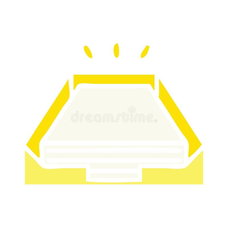 επίπεδος σωρός εγγράφου κινούμενων σχεδίων χρώματος αναδρομικός στο δίσκο ελεύθερη απεικόνιση δικαιώματος