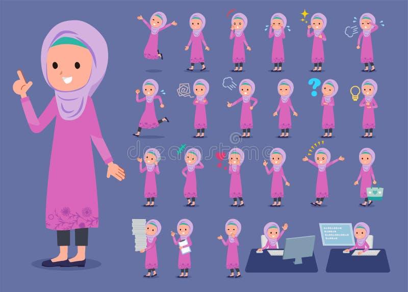 Επίπεδος τύπος αραβικό girl_1 διανυσματική απεικόνιση