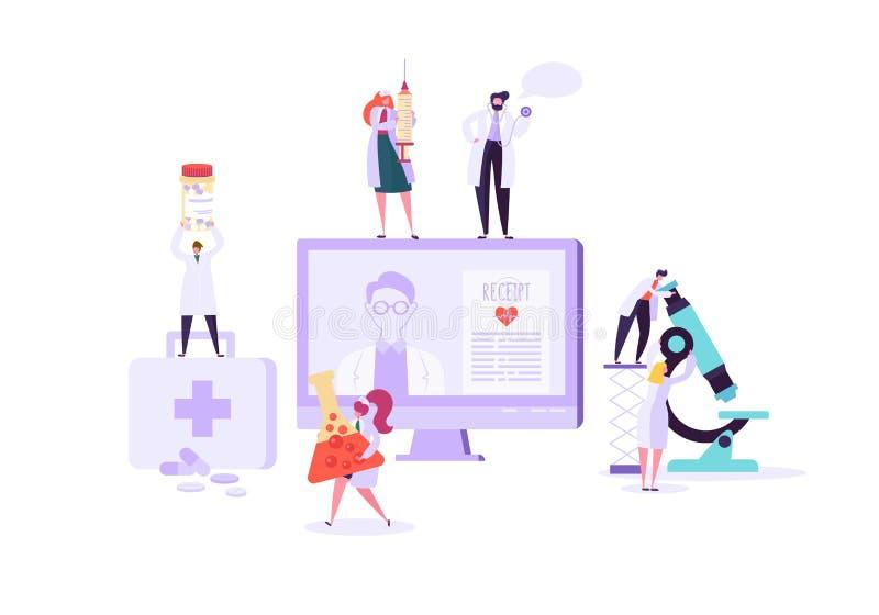 Επίπεδος υπολογιστής ιατρικής με app για τις πληροφορίες γιατρών και ασθενών εξέτασης Σύγχρονος σε απευθείας σύνδεση εξοπλισμός ε διανυσματική απεικόνιση