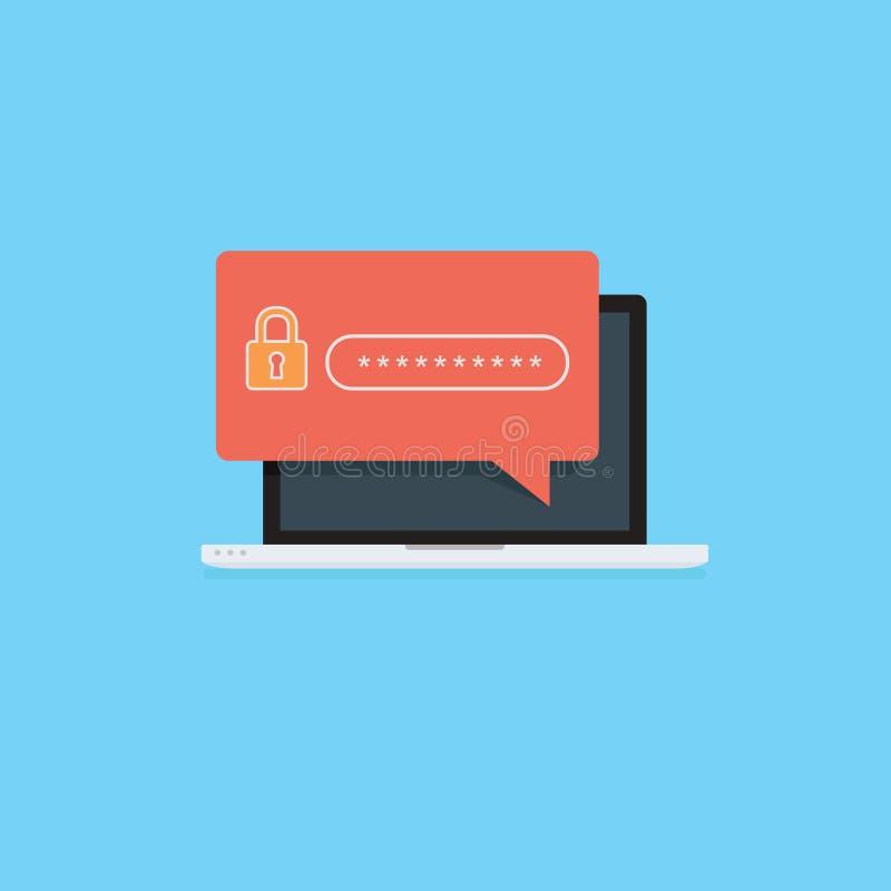 Επίπεδος υπολογιστής με το εικονίδιο κλειδαριών ασφάλειας Έννοια προστασίας ασφάλειας Διαδικτύου Lap-top με τον τομέα ασφάλειας κ απεικόνιση αποθεμάτων