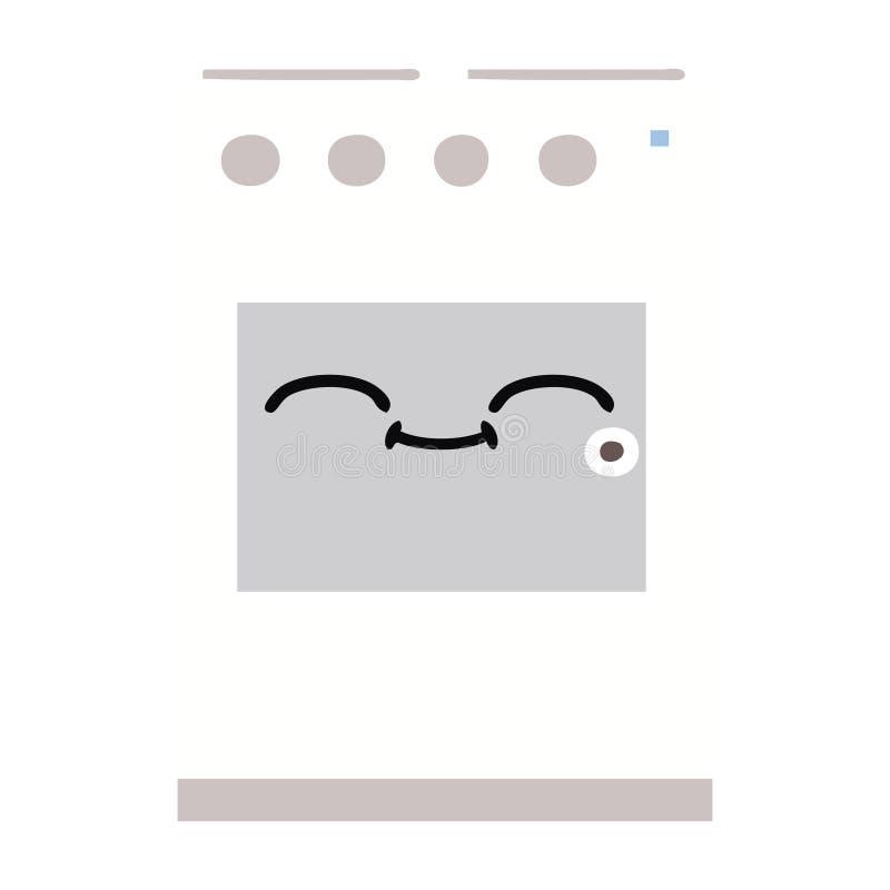 επίπεδος φούρνος κουζινών κινούμενων σχεδίων χρώματος αναδρομικός απεικόνιση αποθεμάτων
