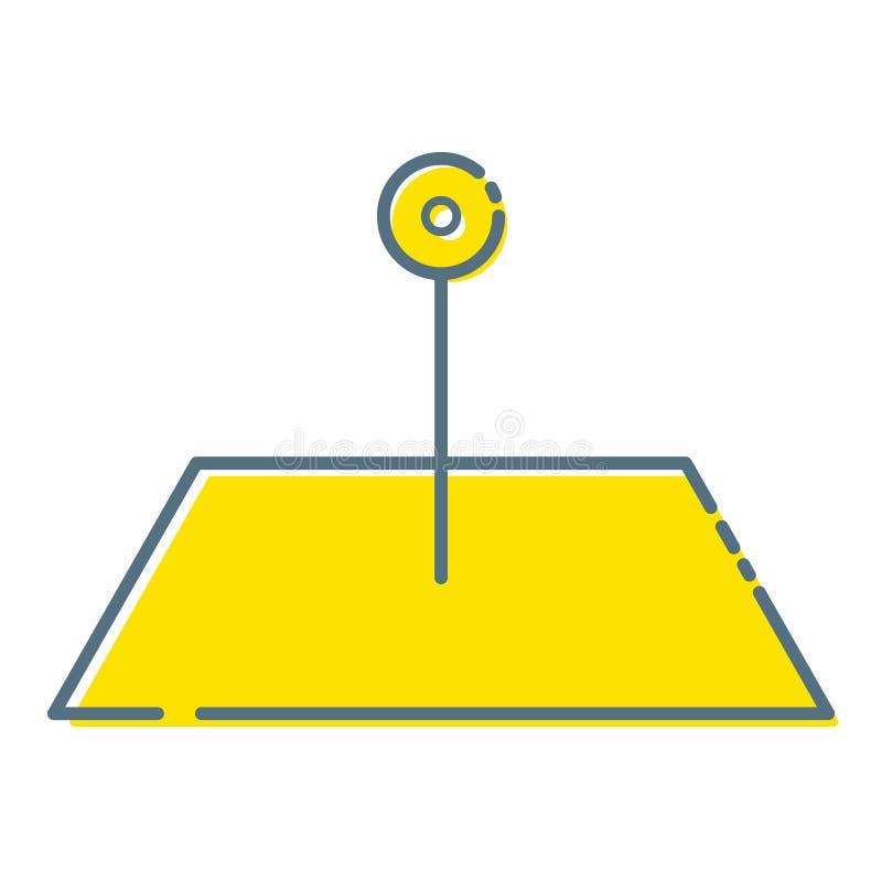 Επίπεδος χάρτης θέσης σχεδίου με την κίτρινη καρφίτσα, ετικέτα, δείκτης r ελεύθερη απεικόνιση δικαιώματος