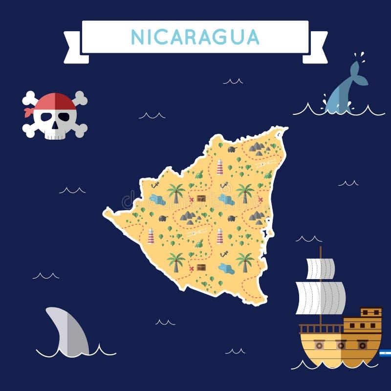 Επίπεδος χάρτης θησαυρών της Νικαράγουας διανυσματική απεικόνιση