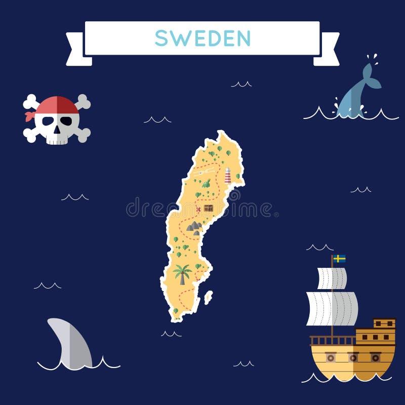 Επίπεδος χάρτης θησαυρών της Σουηδίας απεικόνιση αποθεμάτων