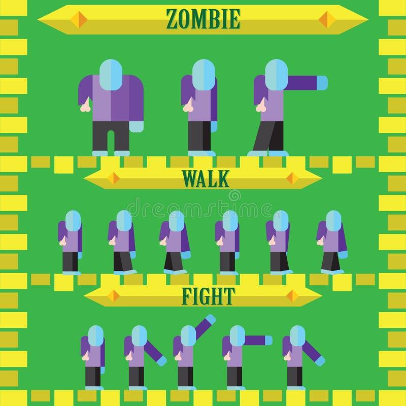 Επίπεδος χαρακτήρας παιχνιδιών αποκριών για το σχέδιο zombie απεικόνιση αποθεμάτων