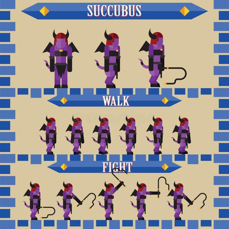 Επίπεδος χαρακτήρας παιχνιδιών αποκριών για succubus σχεδίου ελεύθερη απεικόνιση δικαιώματος