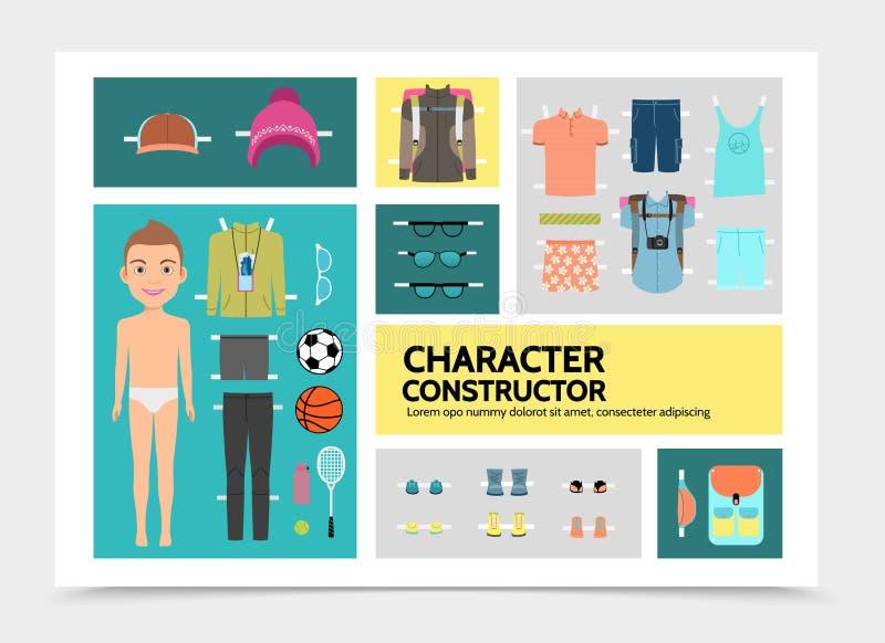 Επίπεδος χαρακτήρας Infographics αθλητών ελεύθερη απεικόνιση δικαιώματος